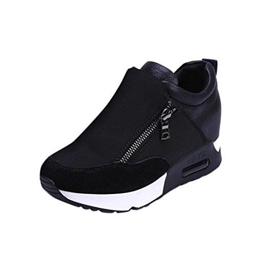 Sneakers Damen, Sunday Turnschuhe Freizeitschuhe Frauen Fashion Sport Laufen Wandern Dicke Boden Outdoor Reißverschluss Plateauschuhe Schwarz
