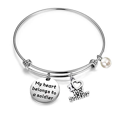 Gzrlyf Army Wife Bracelet My Heart Belongs to a Soldier Military Wife Gifts for Mom Daughter Wife Girlfriend (My Heart Belongs to a Soldier)