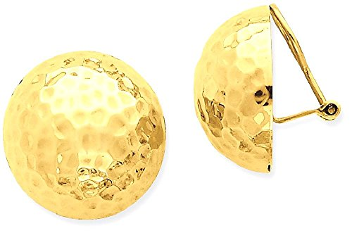 IceCarats 14k Yellow Gold Omega Clip 20mm Hammered Non Pierced On Ball Button Stud Earrings