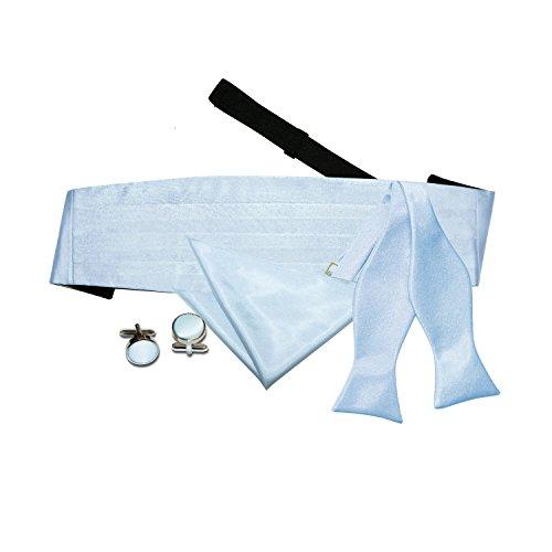 Baby Blue Self Plain Cummerbund Cufflinks Bow Tie Tie Hanky Men DQT 7vxqzz