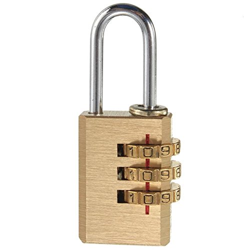 Pure Copper Mini Lock 3 Digit Combination Password Lock Travel Luggage Code Padlock Suitcase Locks 53x22x8 MM by Isguin
