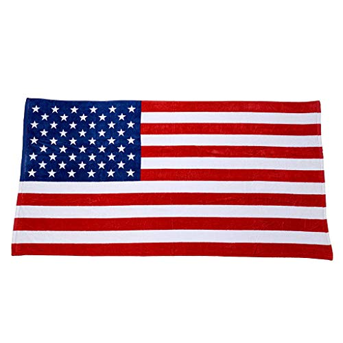 (Independence Day American Flag Beach Towel | Quick Fast Dry Bathrobe | Sand Free Super Absorbent Bath Towel - 100% Cotton Plush (Multicolor))
