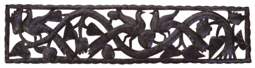 Le Primitif Galleries Haitian Recycled Steel Oil Drum Outdoor Decor, 48 by 12-Inch, Horizontal Tree of Life Strip