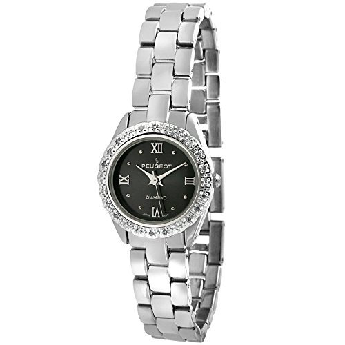 Peugeot Ladies Silvertone Dress Watch with a Genuine Diamond Bezel and a Charcoal Grey -