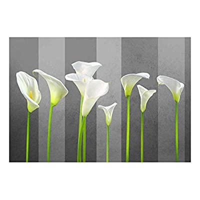 Gorgeous Object of Art, Made With Love, Arum Lilies with Gray Striped Textured Background Wall Mural