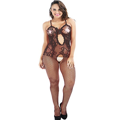 YLing Women's Full Body Open Crotch Fishnet Bodystocking Black Net Sheer Lingerie Bodysuit Keyhole Bow Bodysuit Underwear In Industrial (Black Industrial Fishnet)