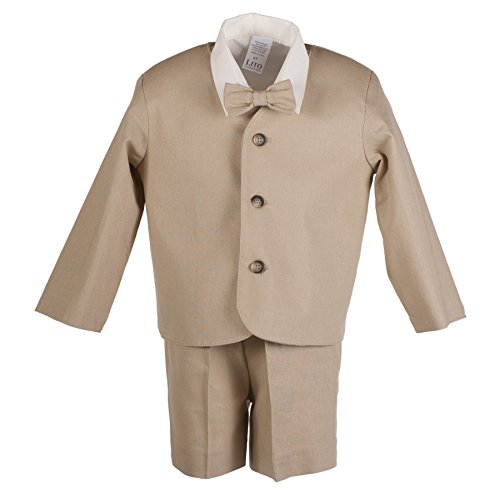 - Boys Khaki Tan Linen Eton Short Set for Baby and Toddlers (3 Toddler)