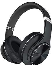 DOQAUS Hörlurar Bluetooth Over Ear med 3 EQ-lägen, 52 Timmar Speltid Trådlösa Hörlurar med Mikrofon, Vikbara Stereohörlurar, Mjukt Minnesprotein, Trådbundet och Trådlöst Headset för TV/PC/Phone(svart)
