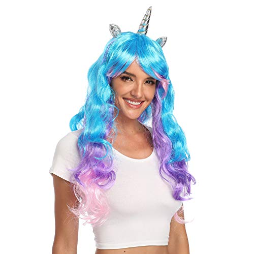 YallFairy Womens Girls Assortment of Unicorn Wigs and Headpieces (Color A) -