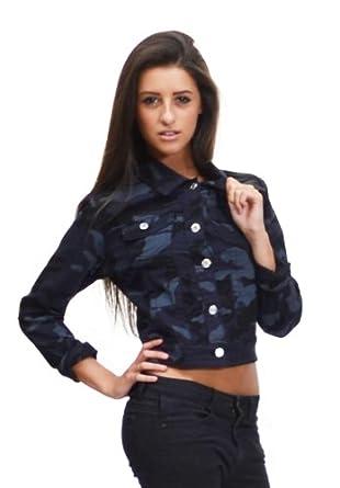 Army camouflage cropped denim jacket (8): Amazon.co.uk: Clothing
