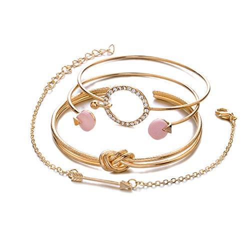 Friedman 4 Pcs/Set Classic Arrow Knot Round Crystal Gem Multilayer Adjustable Open Bracelet Set Women Fashion Party Jewelry Gift