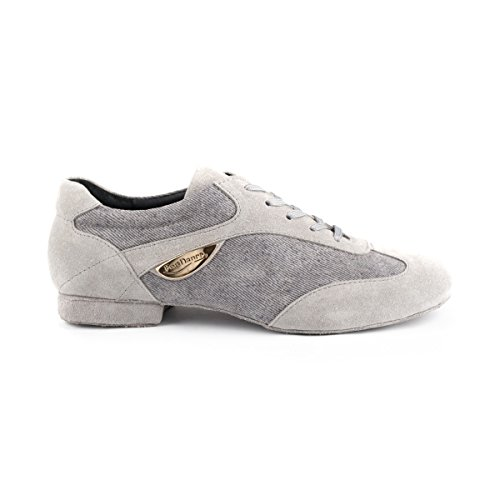 PortDance Damen Tanzschuhe/Dance Sneakers PD07 - Denim/Velourleder Grau - 1,5 cm Blockabsatz - Rauledersohle
