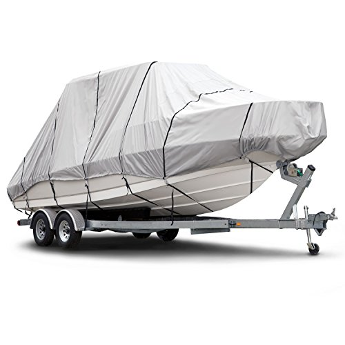 Budge 600 Denier Boat Cover fits Hard Top / T-Top Boats B-621-X7 (22' to 24' Long, Gray)