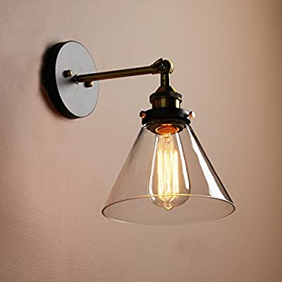 Permo Single Sconce with Funnel Flared Glass Clear Glass Shade 1-light Wall Sconce Wall Lamp Vintage Nostalgic Edison Filament Bulb Included