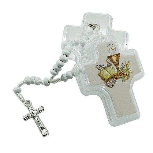 (12 Pcs First Holy Communion Wood Rosaries in Glass Jar/Recuerdos Para Primera Comunion Niña)