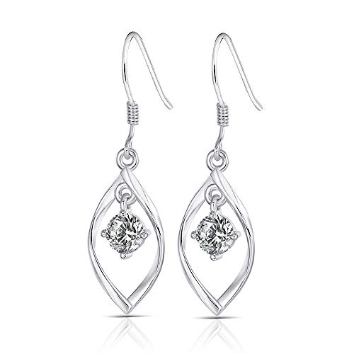 (Platinum Plated Silver 1ct Center 5mm H-I Color Heart Arrows Cut Moissanite Dangle Earrings for Women 10mm Width 33mm Height)