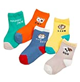 5 Pairs Breathable Cotton Kids Socks Cute Animal Socks