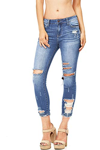 Cello Jeans Women's Juniors Mid Rise Distressed Skinny Jeans (9, Classic Med Denim)