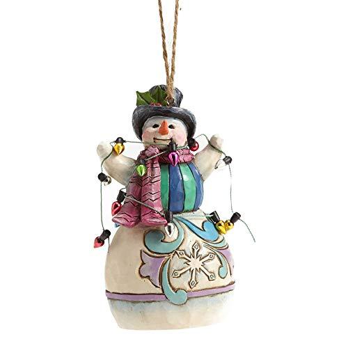 Enesco Jim Shore HWC Snowman Wrapped in Lights Ornament