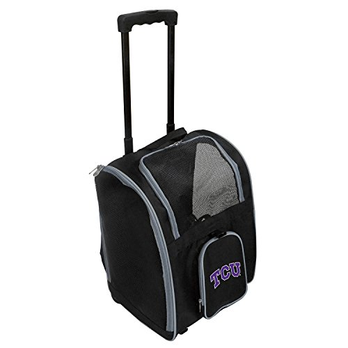 (Denco NCAA TCU Horned Frogs Premium Wheeled Pet Carrier)