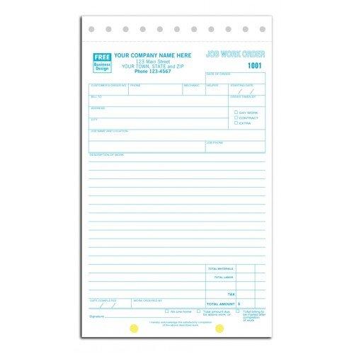 Carbonless Job Work Order Forms (Estimate Pads)