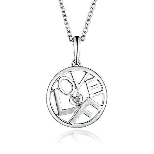Epinki 18K Gold Women Diamond Necklace Letter ''Love F'' Heart Round Shape Pendant Bride Jewelry Diamond by Epinki