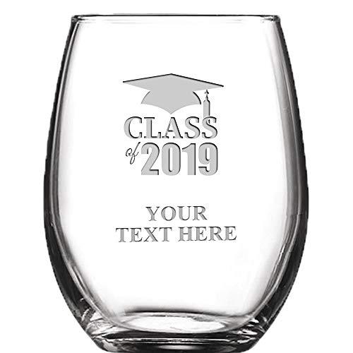 Class of 2019 Personalized Wine Glass - 9 oz Custom Soiree Stemless Graduation Wine Glass Gift Prime -
