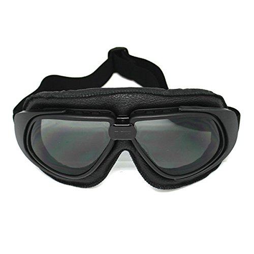 Motorcycle Goggles Scooter Mopeds Half Helmet Vintage Vespa Pilot Aviator Style, Matt Black Frame Smoked Lens ()