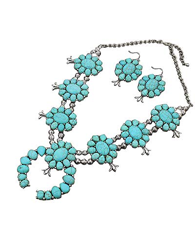 Jayde N' Grey Navajo Turquoise Southwestern Squash Blossom Necklace & Lace Jewelry Bag (Turquoise ()