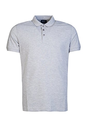 Armani Jeans Men's Solid Short Sleeve Polo Shirt, Grey, L