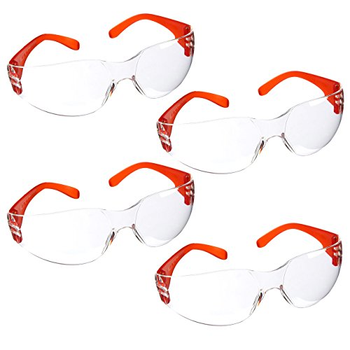 Protective Glasses - 4-Pack Protective Eyewear Goggles, Eye Protection Glasses for Science Experiments or Construction Costume, Clear and Orange, One Size for Adults, Teens, 5.6 x 1.7 x 5 Inches -