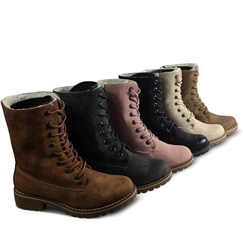 Outdoor Beige Damen Boots Stiefeletten ST26 Worker Stiefel Schnürboots gefüttert W8YnUxY