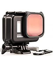 Lammcou Waterproof Case Kit Compatible with GoPro HERO8 Black, Black 60M Underwater Diving Protective Housing Shell with Red Filter & Safety Rope & Anti-Fog Inserts & Mount for Hero 8 Accessories