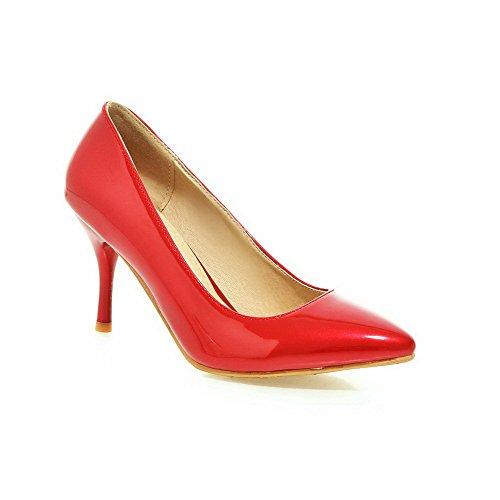 Ballerine Scarpe Odomolor Rosso Tirare Donna A Tacco Puro Alto di Punta Pelle Maiale 60ByPnqw0r