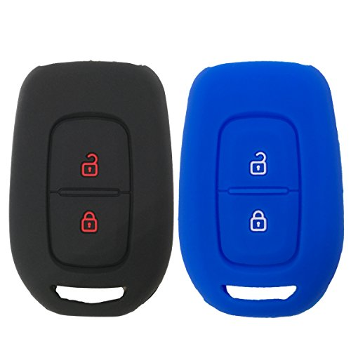 Coolbestda 2Pcs Silicone Key Fob Cover Protector Keyless Jacket Remote Holder for Renault kwidSymbol Trafic Scenic Master Megane Clio Captur Laguna Fluence 2018 2017 2016 Dacia Sandero Logan Duster