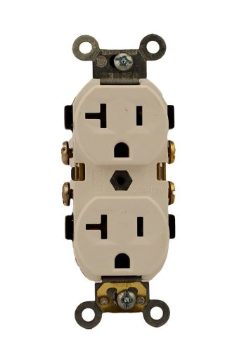 (Leviton 5320-ICP 15 Amp, 125 Volt, Duplex Receptacle, Residential Grade, Grounding, All Screws Backed Out, Ivory)