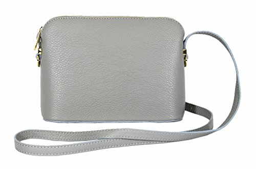or Adjustable Made Shoulder Hand Grey Leather Real Small Genuine Textured Light Triangular Italian Bag Crossbody Strap wF4nPq