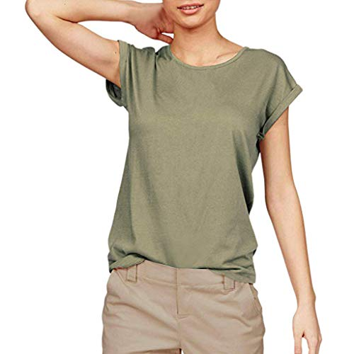 Tantisy ♣↭♣ Women Solid Comfy Loose Fit Roll Over Short Sleeve O Neck Lightweight Top Tee Cotton Casual T Shirts Green