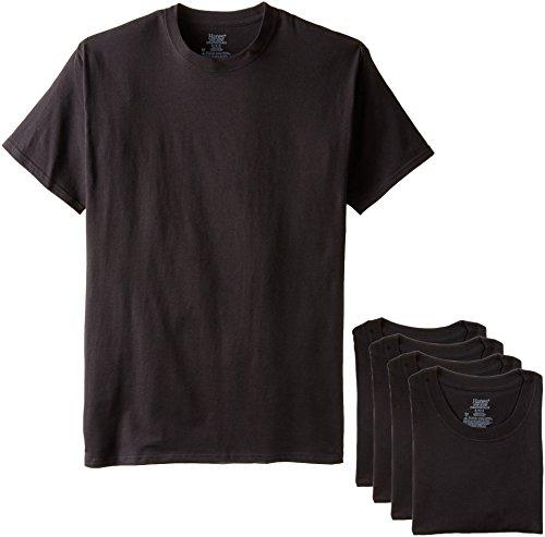 Hanes Men's 4-Pack Ultimate Stretch Crew T-Shirt, Black, X-Large Hanes Spandex T-shirt