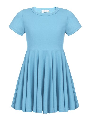 Arshiner Girls' Cotton Long Sleeve Twirly Skater Party Dress,Blue_short Sleeve,130(Age for 8-9 Y)