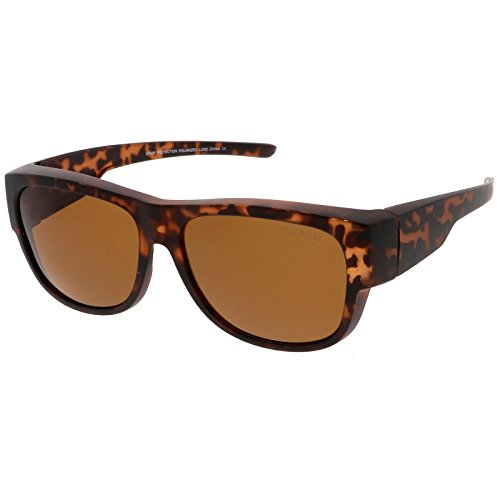 sunglassLA - Square Polarized Lens Thick Horn Rimmed Sunglasses With Wide Arms 57mm (Matte Tortoise / - Wide Glasses Rimmed