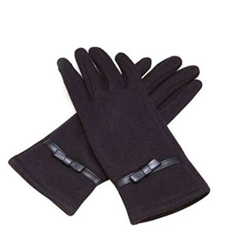 Ladies Thinsulate Insulation Winter Fleece Outdoor Gloves Touchscreen Bowknot Terylene Lined Magic Gloves Grip Knitted Gloves Ski Bike Cycle Gloves for Cell Smart Phone/iphone/ipad/itouch/htc/tablet/blackberry/samsung/sat Nav/atm Xmas Gift for Her Free Size (Black)
