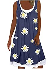 Chenmioo Casual Beach Summer Dress for Women Sleeveless Printed Fake Two-Piece Dresses Round Neck Plus Size Loose Midi Dress