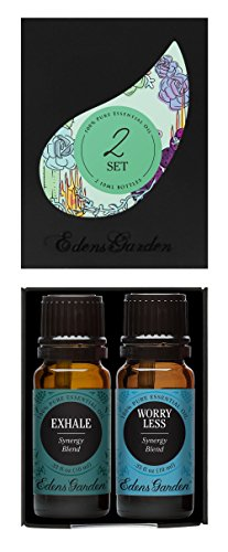 Edens Garden Exhale, Worry Less Value Pack 100% Pure Therapeutic Grade Essential Oil, 10 mL, Set of 2