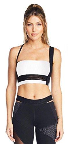 Sports Asymmetric Bra - Lukka Lux Women's Asymmetric Logo Strap Lux Sports Bra L optic white