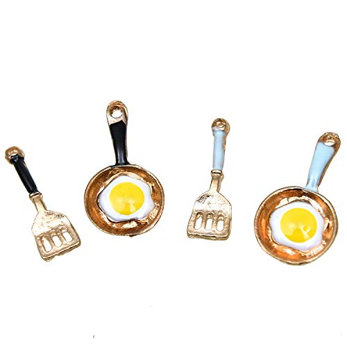 Egg Charm Pendant - Monrocco 40Pcs 2 Color Enamel Fry Pan Charms Fried Egg Charms Pendant for Jewelry Making