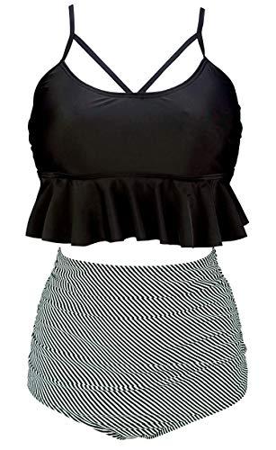 COCOSHIP Black & White Striped Striae Vintage Falbala High Waist Bikini Set Crisscross Hollow Out Swimsuit Cruise Swimwear XXL