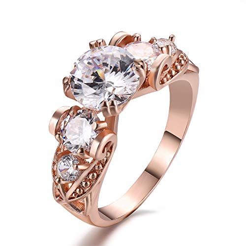 (Adeser 925 Sterling Silver Rings Womens CZ Ring Engagement Rings Womens Rings Sterling Silver Created 5 Stone Rings for Women Rose Gold Rings Fashion Band Zirconia Ring (5-10) (Rose Gold Ring-5, 5))