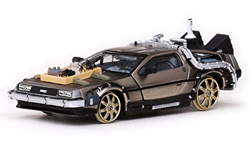 1981 DeLorean DMC 12 Coupe w/ Railroad Tracks - Back to the Future III Time Machine, Stainless Steel - Sun Star 24014 - 1/43 Scale Diecast Model Toy Car