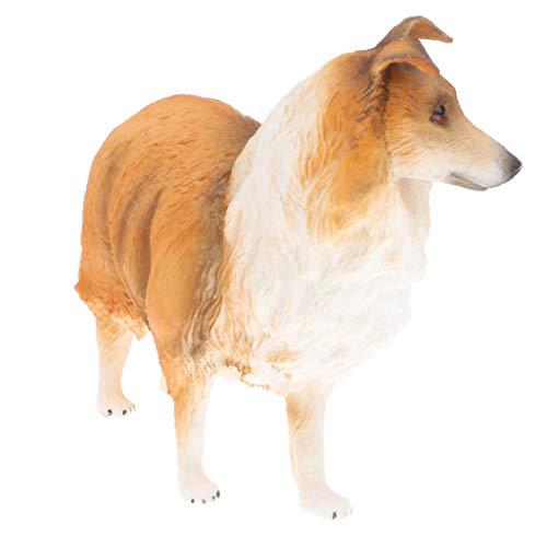 Collie Figurine Dog (Fenteer Realistic Yellow Collie Shepherd Dog Model Figurine (4.65 x 2.17 x 3.94 inch))